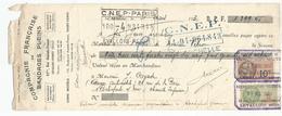 Lettre De Change Du 31 Mars 1930 Compagnie Française De Bagages Pleins  + Timbre Fiscal - Bills Of Exchange