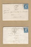 2 Enveloppes Avec Correspondance N° 22 TAD Algérie GC 5005 Pour Angers Verso Ambulant Jour S - 1849-1876: Période Classique