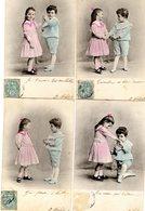 -- LOT DE 4 CARTES  - COUPLE D'ENFANTS -- - Enfants