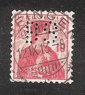 Perfin/perforé/lochung Switzerland No YT131 1909-1932 Hélvetie BS  AG Vorm. B. Siegfried, Chemische Fabrik Zofingen - Gezähnt (perforiert)