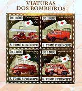 SAO TOME E PRINCIPE 2006 SHEET FIRE ENGINES VEHICLES POMPIERS BOMBEROS POMPIERI BOMBEIROS FEUERWEHRMANN GOLD St6410a - Sao Tome En Principe