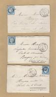 3 Enveloppes Donc 2 Avec Correspondance De Bone Algérie GC 5015 Vers Bragny Verso Tad Ambulant Spécial - 1849-1876: Période Classique