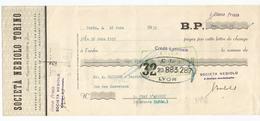 Lettre De Change Du 18 Juin 1935 Societa Cebiolo Torino + Timbre Fiscal - Bills Of Exchange