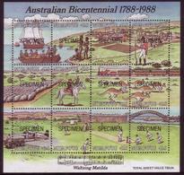 Tonga Niuafo'ou 1988 Specimen S/S - Shows Steam Train, Cowboy Muster Sheep, Kangaroo - Eisenbahnen