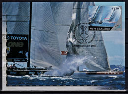 A1251 NEW ZEALAND 2003, SG 2538 $1.30 America's Cup, Yachting, First Day Card - Covers & Documents