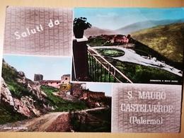 C697 SALUTI DA SAN MAURO CASTELVERDE (PALERMO) CHIESA SAN GIORGIO, CONVENTO BIVIO GANGI ACQUARELLATA VG 1965 - Altre Città