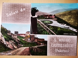 C697 SALUTI DA SAN MAURO CASTELVERDE (PALERMO) CHIESA SAN GIORGIO, CONVENTO BIVIO GANGI ACQUARELLATA VG 1965 - Autres Villes