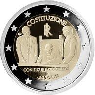 """ITALIA  2€ 2.018  2018  Bimetálica """"70 Years Of Constitution Of The Italian Republic""""  SC/UNC DL-12.267 - Italia"""