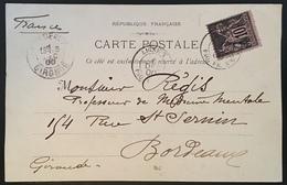 """France 1900 Sage Lettre N°103 Carte De Port Said  Dateur Oblitérant """"ligne T Paq FR N°6"""" Pour Bordeaux TTB - 1898-1900 Sage (Type III)"""
