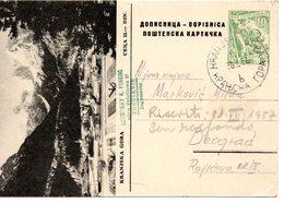 1957 YUGOSLAVIA, SLOVENIA, KRANJSKA GORA, POSTAL STATIONERY, USED, AUTOGRAPHS AT THE BACK - Slovenia