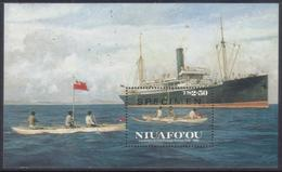 Tonga Niuafo'ou 1986 Specimen S/S - Natives In Canoe Take The Tin Can Mail To Passing Cruise Ship - Tonga (1970-...)
