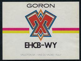 Rare // Etiquette De Vin // Autres // Hockey Sur Glace  // Goron, EHCB-WY  (HC Bienne) - Etiquettes