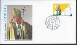 Bosnia Herz. Croatia. Scott # 105 FDC. Visit Of Pope John Paul II. Joint Issue With Bosnia Serbia 2003 - Joint Issues