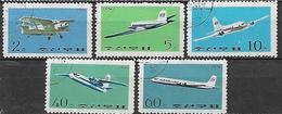 COREA DEL NORD 1975 AEREI YVERT. 1229-1233 USATA VF - Corea Del Nord