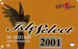 Isle Of Capri Casinos - Higher Level Isle Select Slot Card With 2001 Sticker & Black Out Year On Reverse - Casino Cards