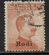 Italy Aegean Islands Rhodes Scott # 6 Used Watermarked Italy Stamp Overprinted, 1919, Short Perf - Aegean (Rodi)