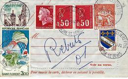 1974- Carte Pneumatique  Chaplain  1,60 + Compl.5,40 F   Oblit. Aubervilliers - Marcofilie (Brieven)