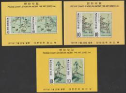 KOREA - 1971 Paintings, Series 16, 17, 18. Scott 787a-789a. MNH ** - Korea, South