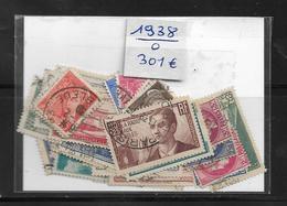France Année  1938 Complète En Oblitéré N °372 A 418  Cote 298€ (vendu A 12%) - France