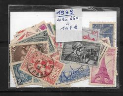 France Année  1939 Complète En Oblitéré N °419 A 450  Cote 147€ (vendu A 12%) - France