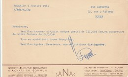 SANAC...ROUEN  1954 - Francia
