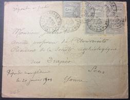 S67 Rhône Lyon Les Terreaux Sage 3c Bloc De 4 + 1 - Poststempel (Briefe)