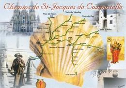 Les Chemins De Saint-Jacques-de-Compostelle - Vues Diverses - Coquille Pélerin Pilgrim Pélerinage Voies De France - Holy Places