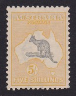 Australia 1918 Kangaroo 5/- Grey & Yellow 3rd Watermark MH - Listed Variety. - Mint Stamps