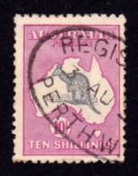 Australia 1917 Kangaroo 10/- Grey & Intense Aniline Pink 3rd Watermark Used - 1913-48 Kangaroos
