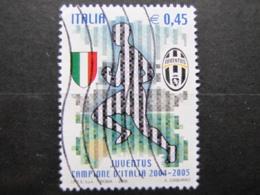 *ITALIA* USATI 2005 - SCUDETTO ALLA JUVENTUS - SASSONE 2827 - LUSSO/FIOR DI STAMPA - 6. 1946-.. Repubblica