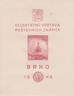 Czechoslovakia Scott B159 1946 Brno National Stamp Exhibition Souvenir Sheet, Mint Never Hinged - Czechoslovakia