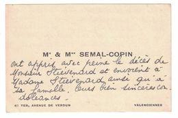 Mr & Mme SEMAIL-COPIN 41 TER AVENUE DE VERDUN VALENCIENNES - Cartes De Visite