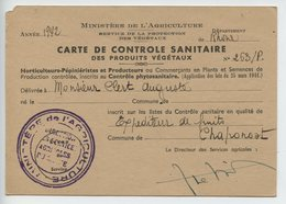Carte De Controle Sanitaire Des Produits Vegetaux - Cartes