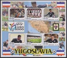 Soccer European Cup 2000 - Football - GRENADA - Sheet MNH Team Yugoslavija - Championnat D'Europe (UEFA)