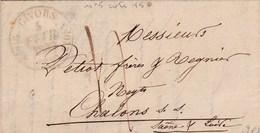LAC De Givors (69) Pour Chalon-sur-Saône (71) - 4 Février 1839 - CAD Rond Type 11 & 13 & 14 - Taxe Manuelle 4 - Postmark Collection (Covers)