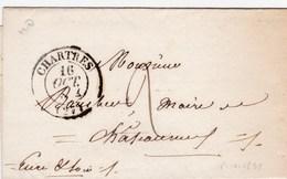 LAC De Chartres (28) Pour Châteauneuf-en-Thymerais (28) - 15 Octobre 1834 - CAD Rond Type 13 - Taxe Manuelle 2 - 1801-1848: Voorlopers XIX