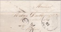 LAC De Aigre (16) Pour Poitiers (86) - 18 Juin 1854 - CAD Rond Type 13 & 15 + Ambulant - Taxe Double Trait 25 - 1849-1876: Classic Period