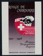 Rare // Etiquette De Vin //  Police // Chardonne Rouge, Police Riviera - Etiquettes