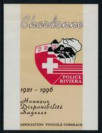 Rare // Etiquette De Vin //  Police // Chardonne , Police Riviera - Etiquettes