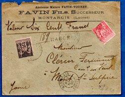 Enveloppe Chargée De Montargis  - Pour Mont St Sulpice  -  12 Nov 1900 - Postmark Collection (Covers)