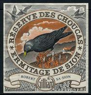 Rare // Etiquette De Vin // Autres  // Oiseaux // Ermitage, Réserve Des Choucas - Etiquettes
