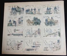 Rare Planche Bons Points Nationaux Papier Fin Pompier Imp Quantin Paris Dessin Signé Kauffmann - Trade Cards