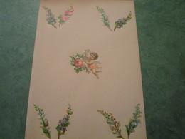Découpis Collés - 1 Angelot Et 8 Motifs Floraux - Anges
