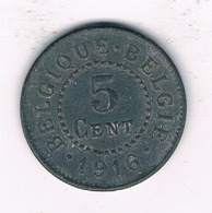 5 CENTIMES 1916  BELGIE /1180/ - 1909-1934: Albert I.