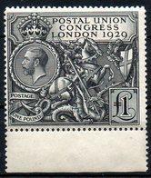 GRANDE BRETAGNE - 1929 - N° 183 - 1 L. Noir - (6è Congrès De L'U.P.U. à Londres) - Unused Stamps