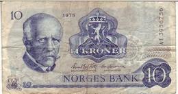 (Billets). Norvege. Norges Bank. 10 Kroner 1975. Pick 36a - Norvège