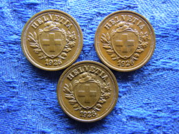 SWITZERLAND 1 RAPPEN 1925, 1926, 1928, KM3.2 - Switzerland