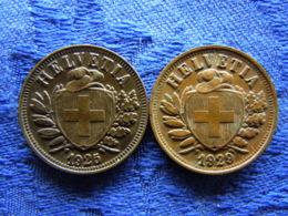 SWITZERLAND 2 RAPPEN 1925, 1928 Corroeded, KM4.2 - Switzerland