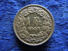 SWITZERLAND 1 FRANC 1908, KM24 Corroded - Schweiz