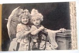 CPA Enfant Jolie S Fillette S En Robe De Cour Et Perruque - Pretty Girl Photo 1903 - Portraits